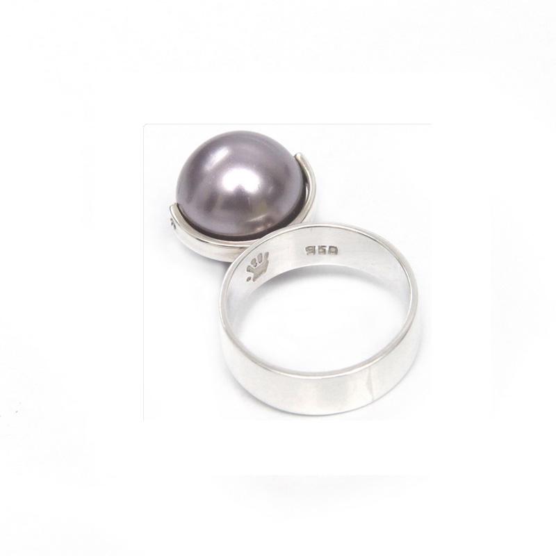 anillo perla swarovski morada - joyas en plata peruana
