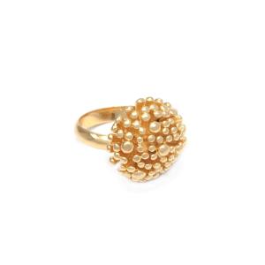 anillo pompones bañados - joyas en plata peruana