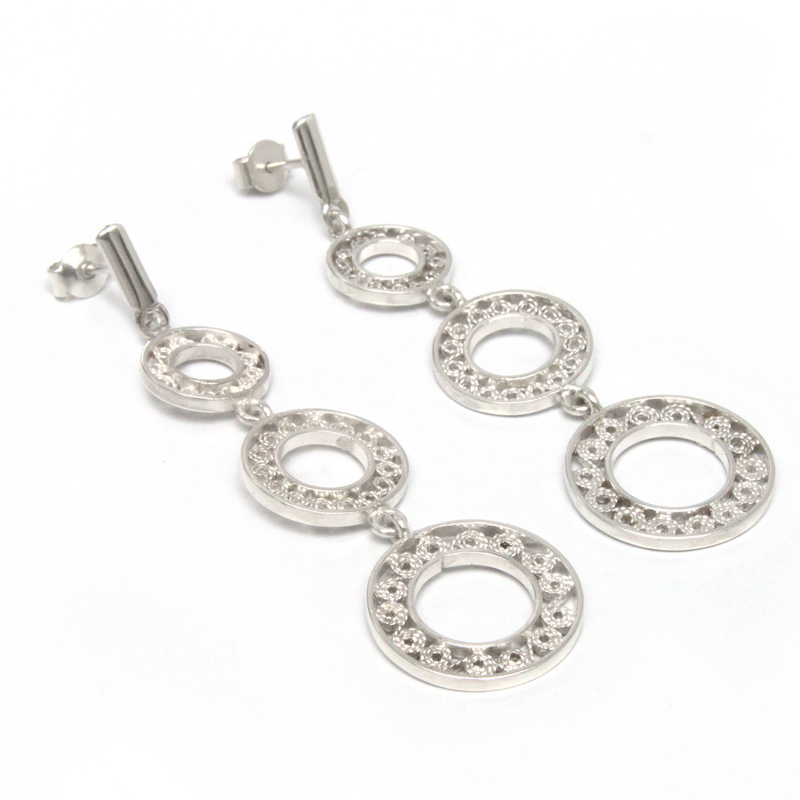 ODISSEA - Aretes círculos 3 caídas filigrana - diseñadora de joyas peruana