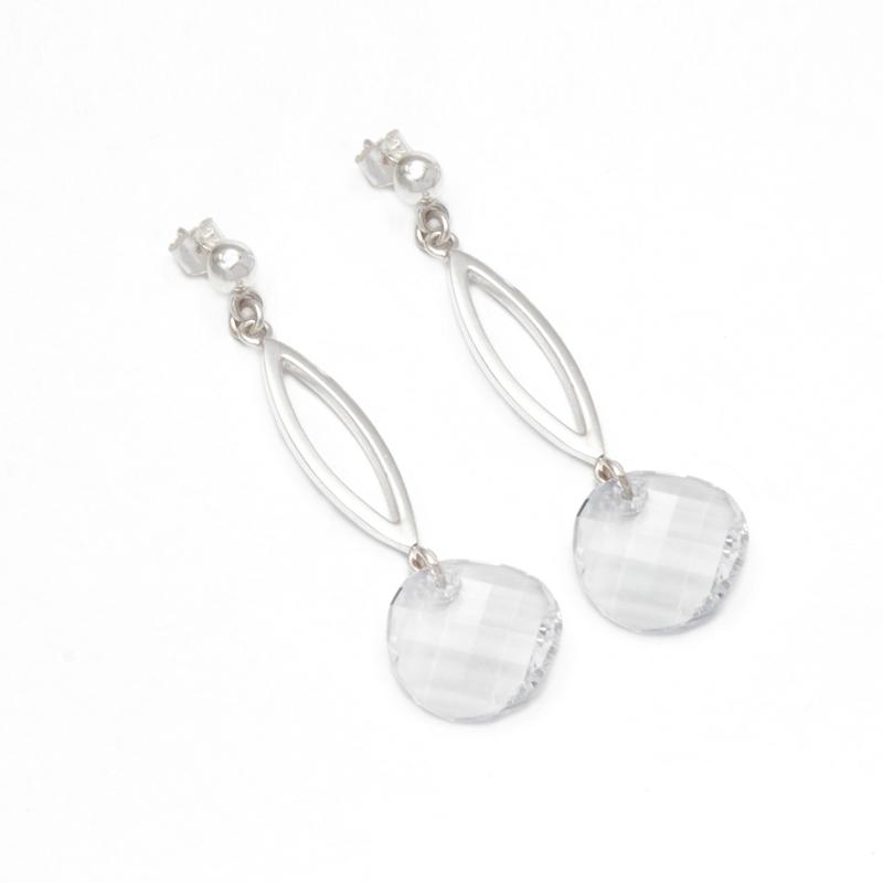 RESPLANDOR - Aretes ovalado con cristal swarovski gris - diseñadora de joyas peruana