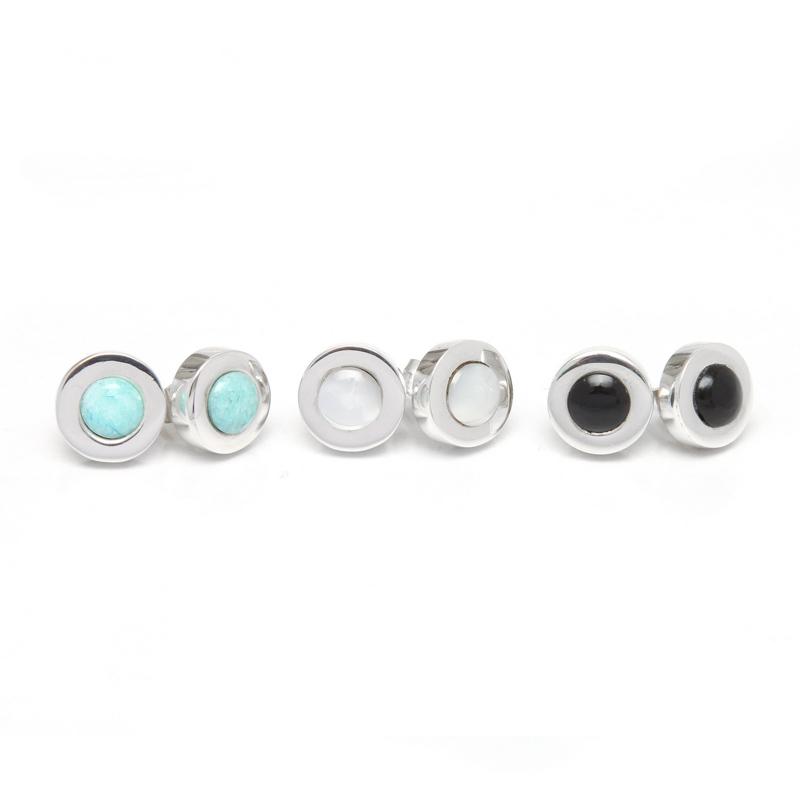 CIRCLES - Aretes círculo obsidiana / círculo nacar / círculo amazonita - diseñadora de joyas peruana