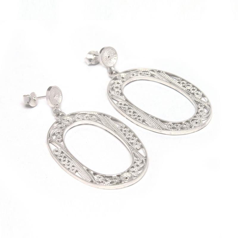 LOOPS - Aretes óvalos filigrana - joyas de plata peruana