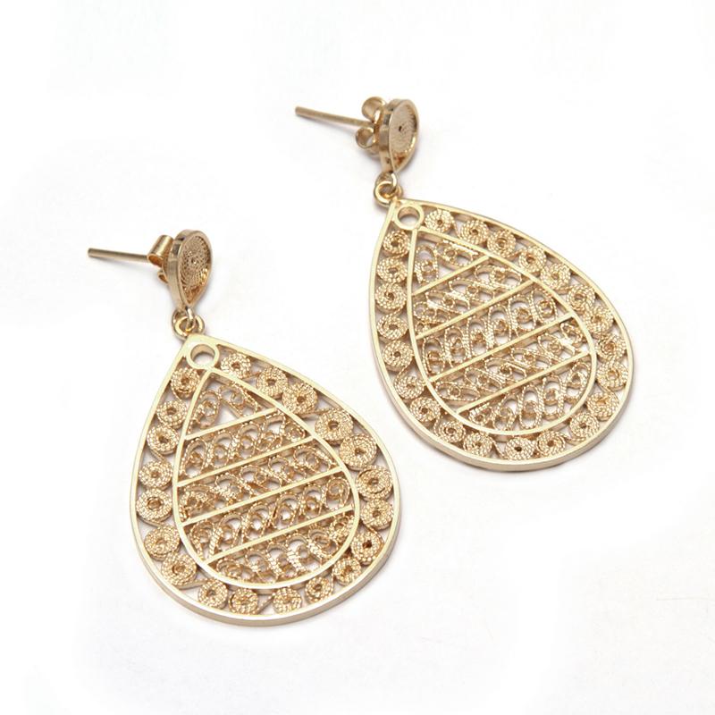 QUEEN - Aretes gotas filigrana grande bañadas - joyas de plata peruana