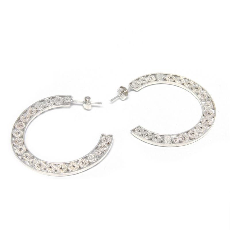 GEOMETRIA - Argollas filigrana planas - joyas de plata peruana