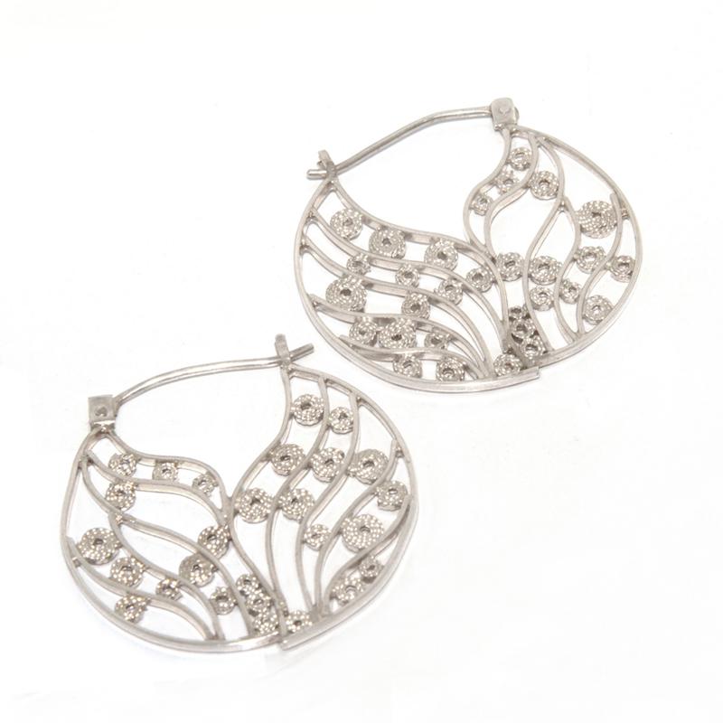 ORGANICA - Argollas líneas filigrana - joyas en plata peruana