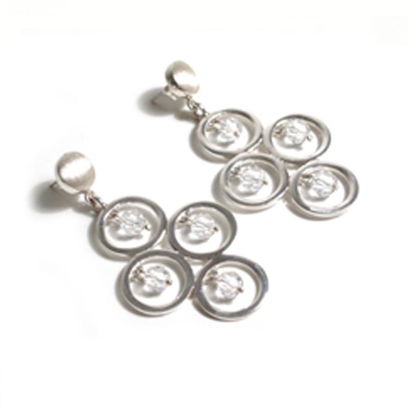 LUCES - Aretes 4 círculos con cristales swarovski grises - joyas en plata peruana