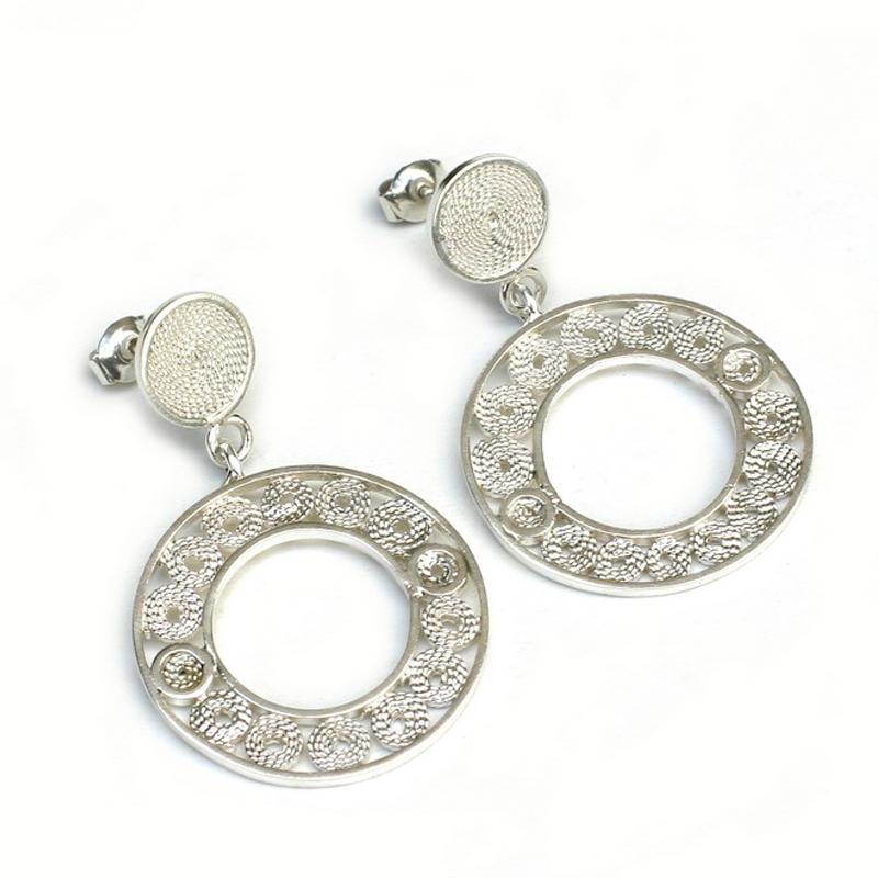 DISCOS - Aretes discos filigrana pequeños - joyas en plata peruana