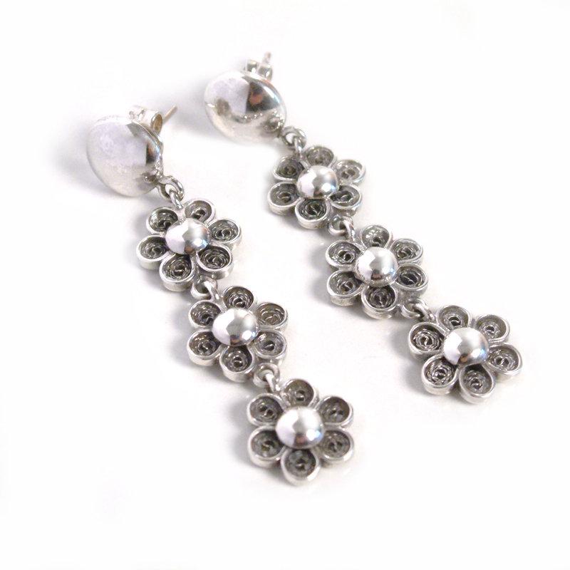 PRIMAVERA - Aretes flor filigrana 3 caídas - joyas en plata peruana