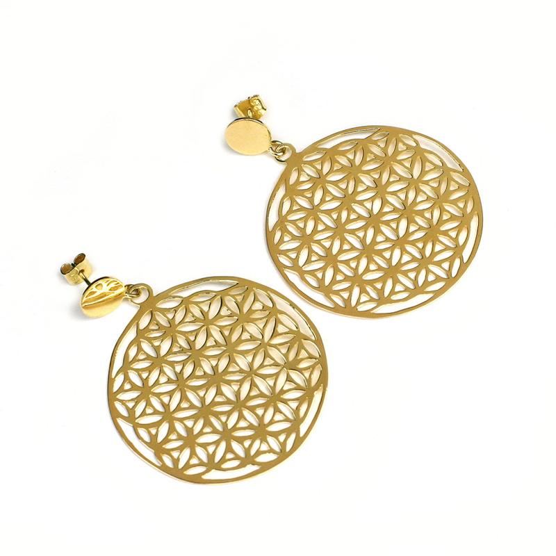 SEMILLA DE VIDA - Aretes Mandala bañados en oro 18kt - joyas de oro peruanas