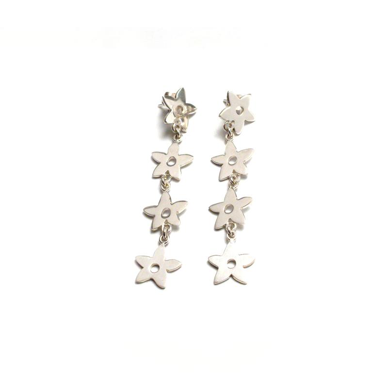 4 EN RAYA - Aretes flores estrella 4 caídas - joyas en plata peruana