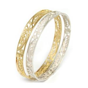 brazalete delgado de filigrana - joyas en plata y oro peruano