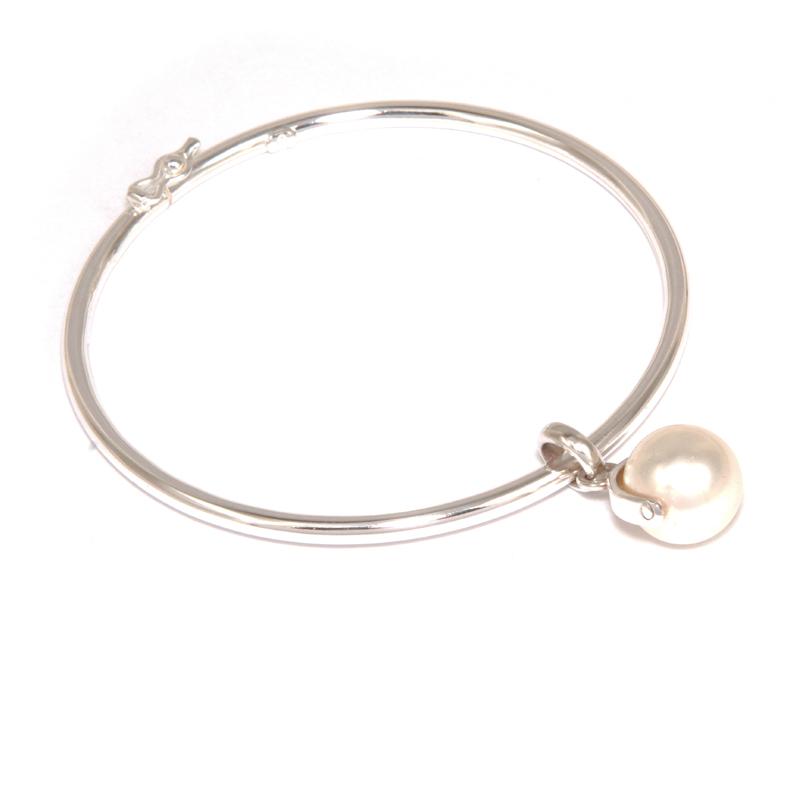 Brazalete tubular con perla swarovski blanca - joyas en plata peruana