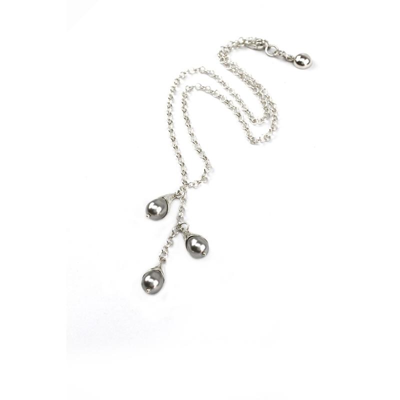 Collar Origins perlas gota Swarovski grises - joyas de plata peruana