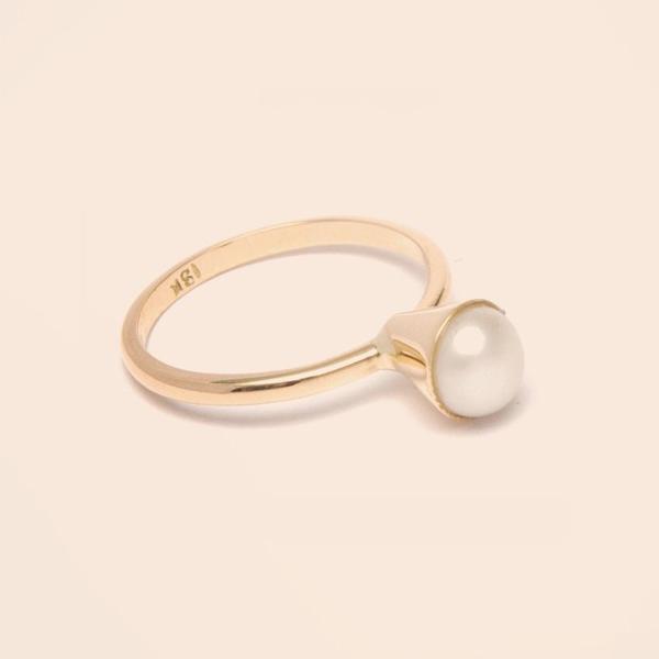 Anillo de oro perla de rio - Diseñadora de joyas peruana