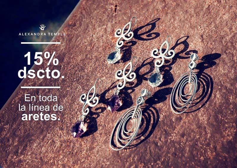 Promoción Aretes con 15% de descuento, joyas en plata peruna