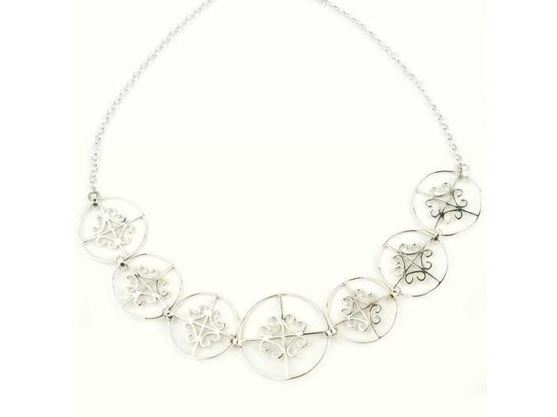 Collar Serendipia 7 circulos rejas - joyas de plata peruana