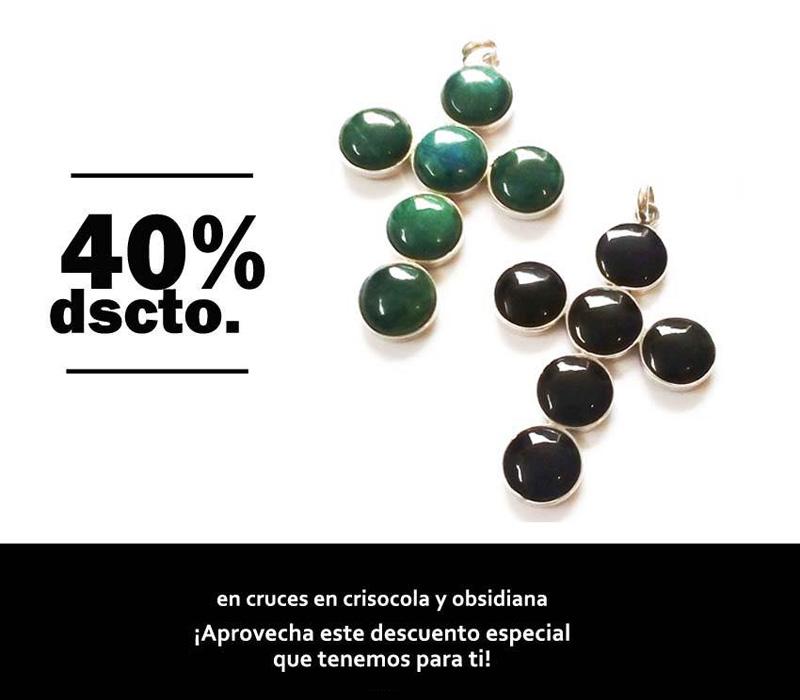 promociones - cruces en obsidiana y crisocolas - joyas en plata peruana