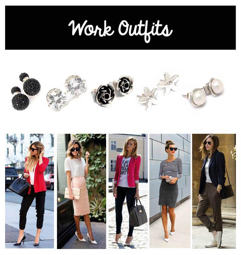 work outfit con aretes de plata pequeños la perfecta combinacion