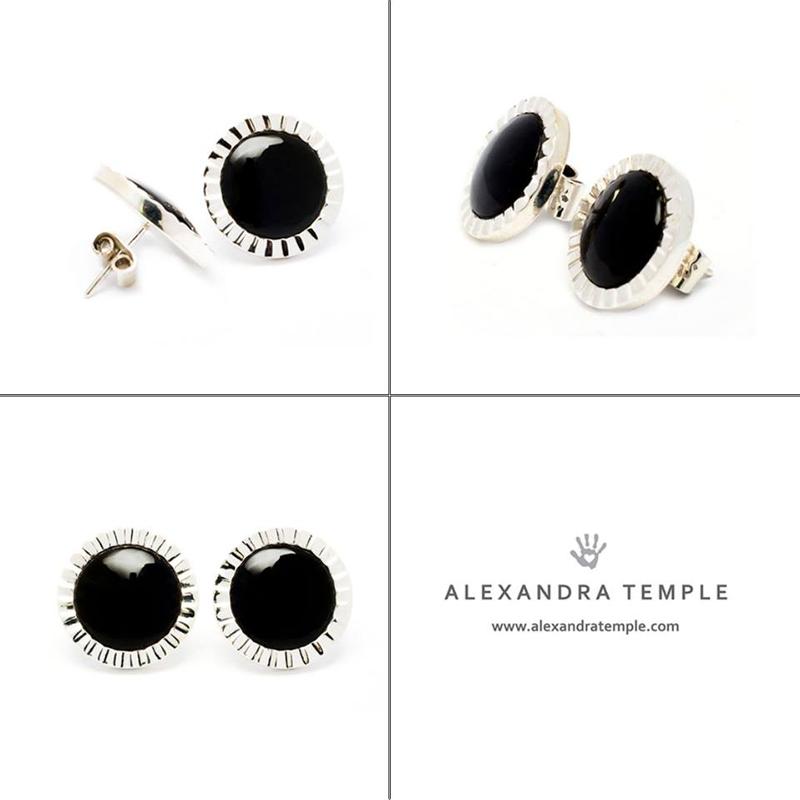 aretes plata y obsidiana - diseñadora de joyas