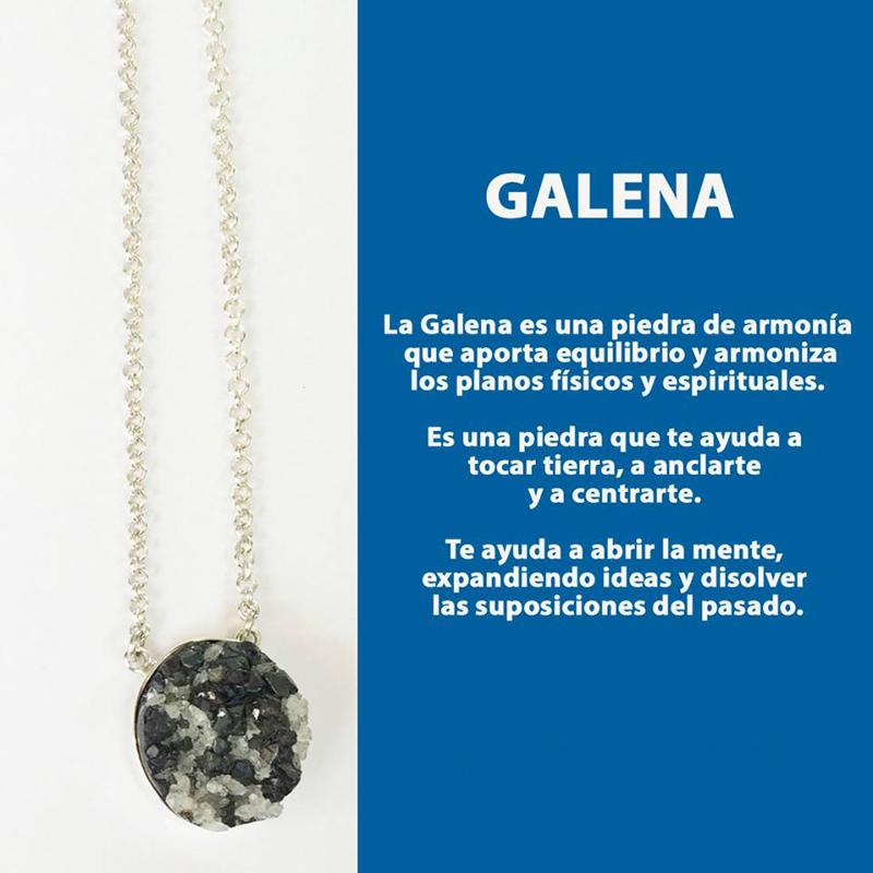 Piedra Galena engastada en plata