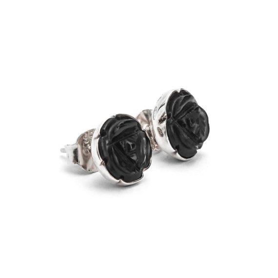 Aretes Rosita Tallada de Obsidiana