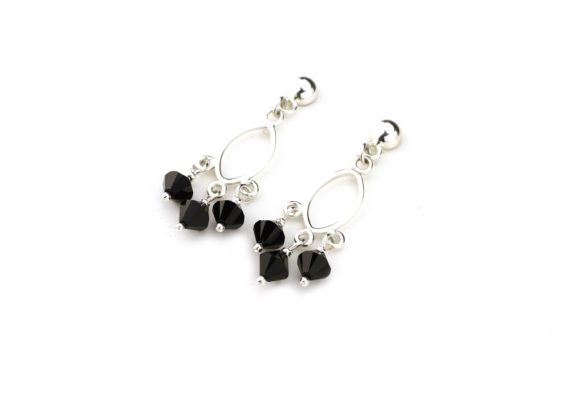 Aretes cristales negros y plata