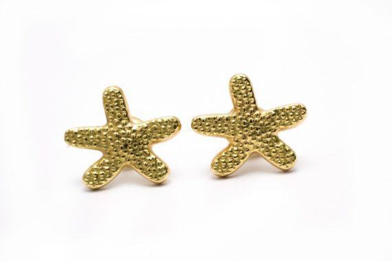 Aretes estrella de mar bañados en oro 18 Kt. 2